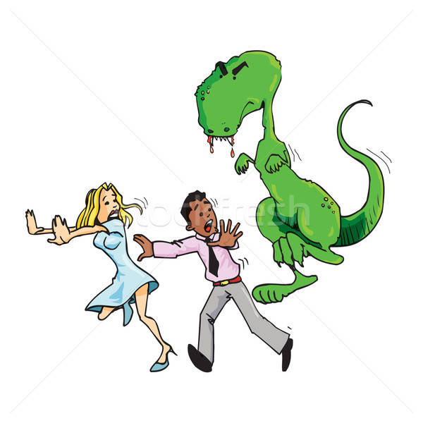Stock photo: Cartoon of man and woman running from a T rex
