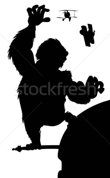 Silhouette König hängen Wolkenkratzer Stadt Tier Stock foto © antonbrand