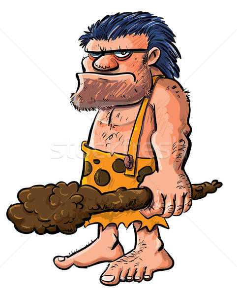 Cartoon caveman with a club. Stock photo © antonbrand