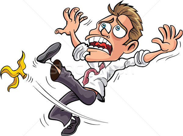 Cartoon businessman slipping on a banana peel Stock photo © antonbrand