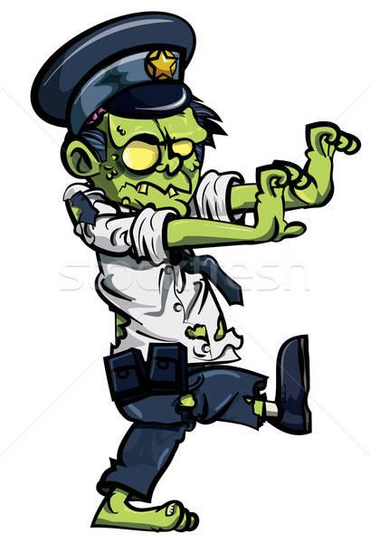Cartoon zombie policjant odizolowany biały ciało Zdjęcia stock © antonbrand