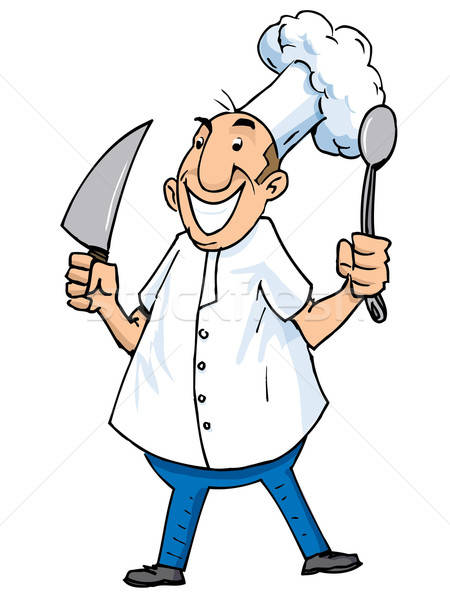 Cartoon of a chef with carving knife and ladle Stock photo © antonbrand