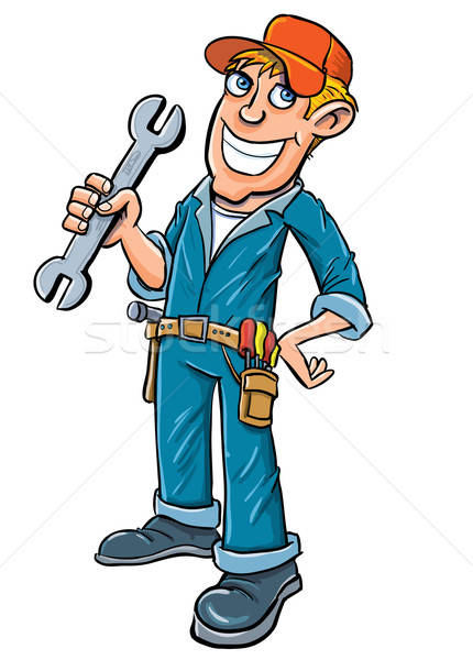 Cartoon plumber holding a wrench Stock photo © antonbrand