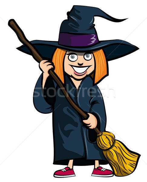 Cartoon of little girl in a witches costume Stock photo © antonbrand