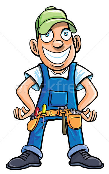 Cartoon handyman with tools. Stock photo © antonbrand