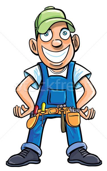 Photo stock: Cartoon · bricoleur · outils · isolé · blanche · construction