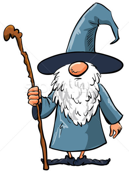 Simple Cartoon Wizard with staff Stock photo © antonbrand