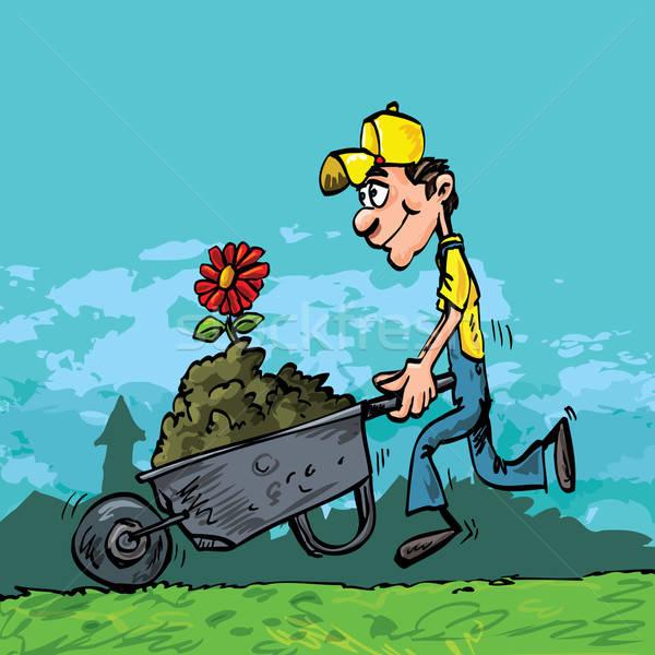 Karikatür adam itme el arabası bahçıvan tok Stok fotoğraf © antonbrand