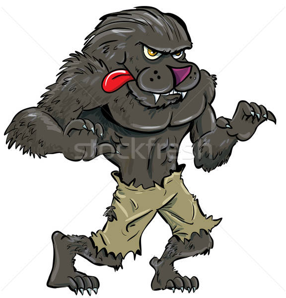 Cartoon werewolf with tongue Stock photo © antonbrand