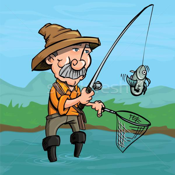 Cartoon fisherman catching a fish Stock photo © antonbrand
