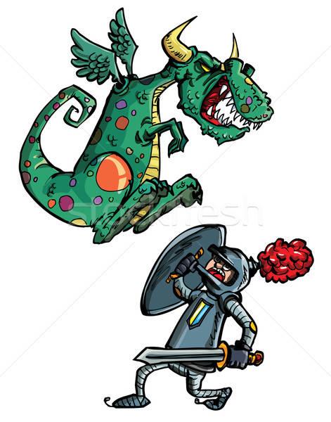 Сток-фото: Cartoon · дракон · Knight · изолированный · белый · здании