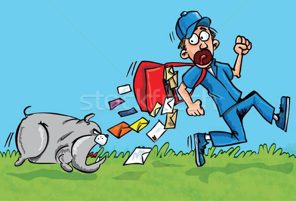 Cartoon postman running away from a dog Stock photo © antonbrand