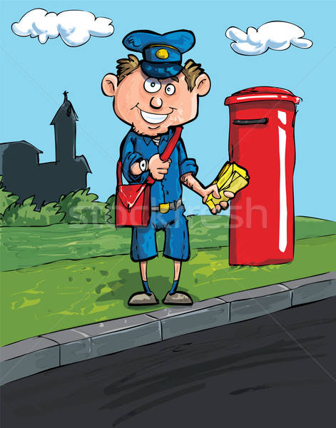 Cartoon postman by a mailbox Stock photo © antonbrand