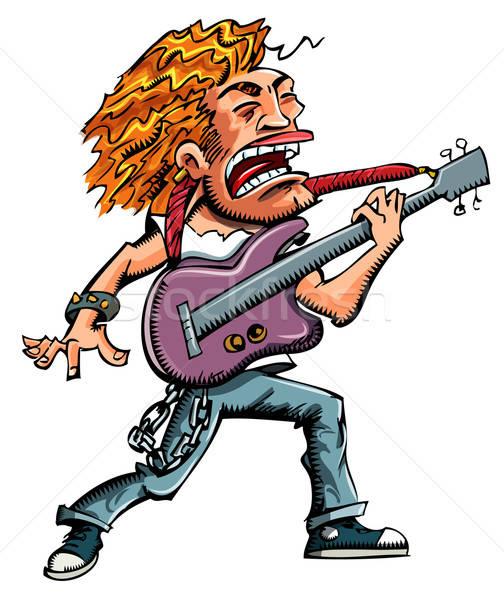 Desenho animado heavy metal cantora adolescente cor jovem Foto stock © antonbrand