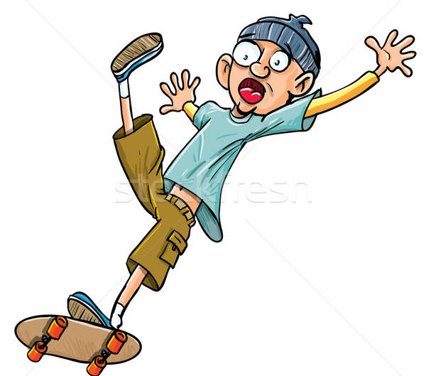 Cartoon skater falling of his skateboard. Stock photo © antonbrand