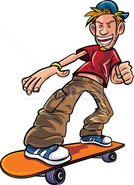 Cartoon skater on his skateboard Stock photo © antonbrand