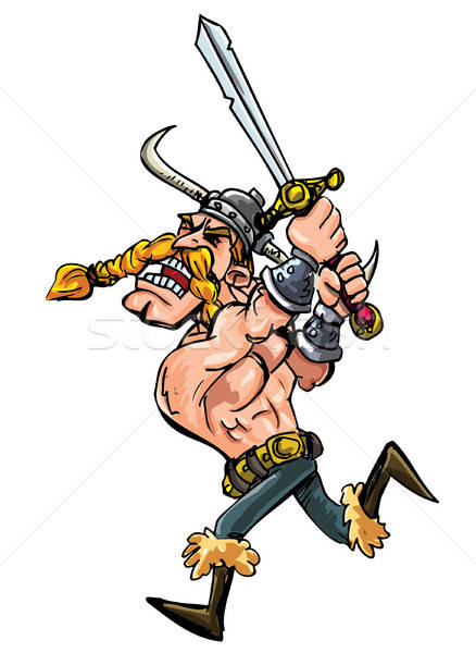 Cartoon viking charging with his sword Stock photo © antonbrand