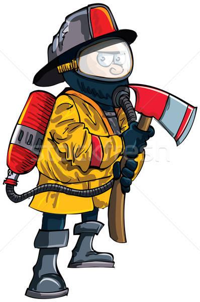 漫画 消防 マスク 斧 孤立した 白 ストックフォト © antonbrand