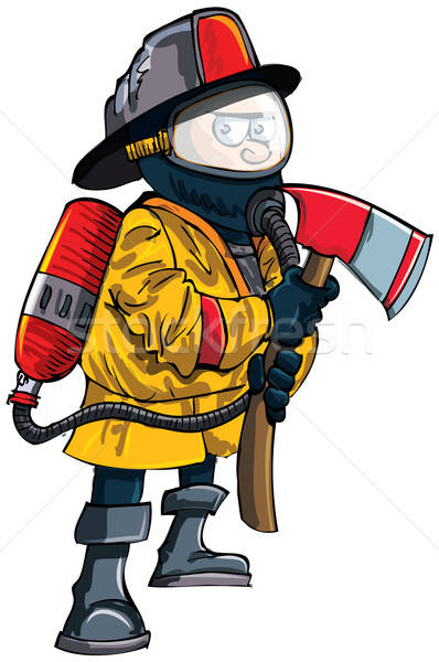 Cartoon fireman in a mask with an axe Stock photo © antonbrand