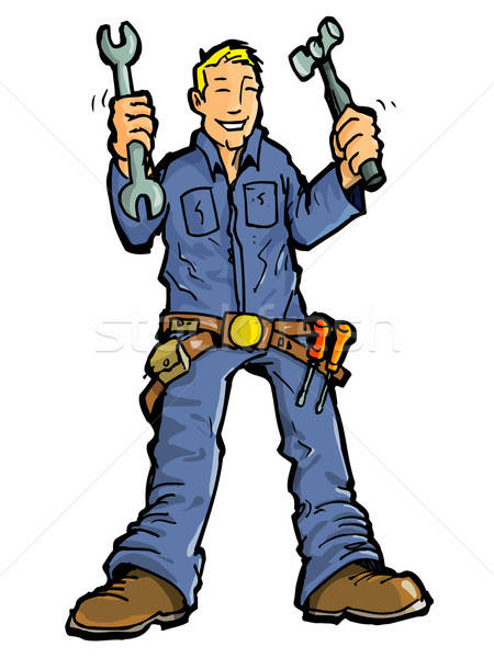 Cartoon of a handy man with all his tools. Stock photo © antonbrand