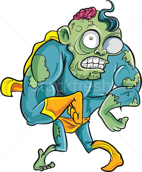 Rajz szuperhős zombi izolált férfi fekete Stock fotó © antonbrand