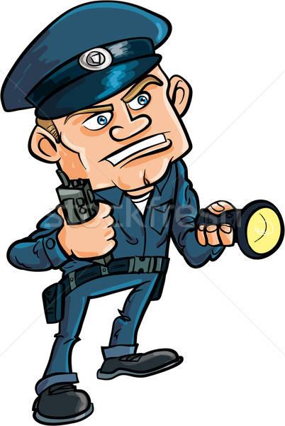 Cartoon security guard with flashlight Stock photo © antonbrand