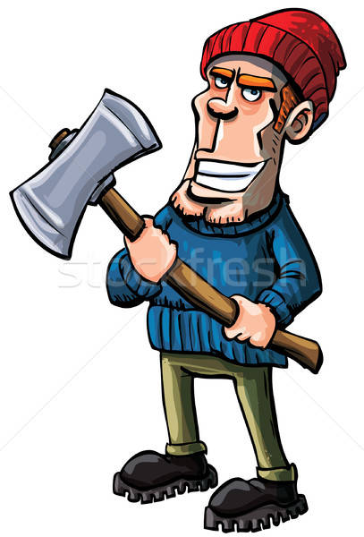 Cartoon lumberjack holding an axe Stock photo © antonbrand