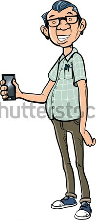 Cartoon nerd with a smart phone Stock photo © antonbrand