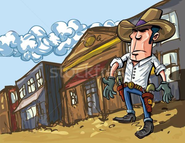 Cartoon cowboy casts a shadow Stock photo © antonbrand