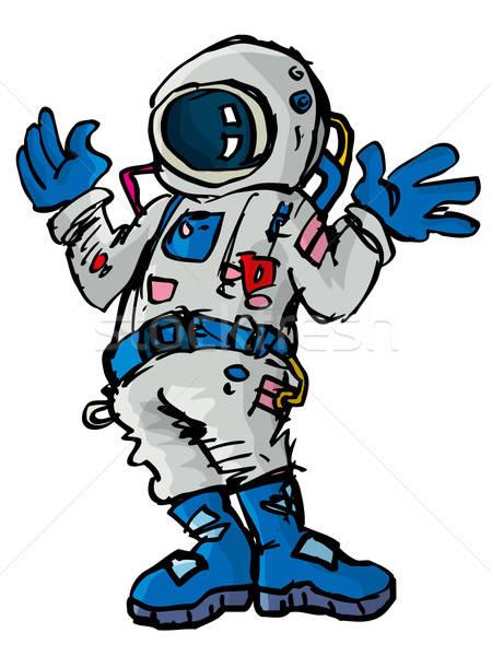 Karikatür uzay takım elbise yalıtılmış beyaz adam Stok fotoğraf © antonbrand