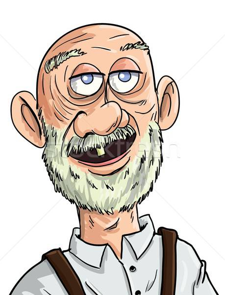Stock photo: Cartoon old man with one tooth