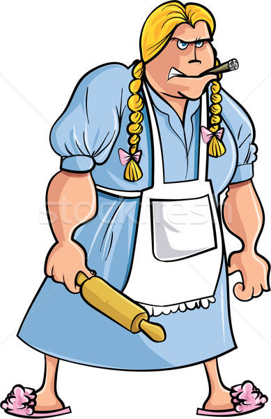 Cartoon angry woman with rolling pin Stock photo © antonbrand