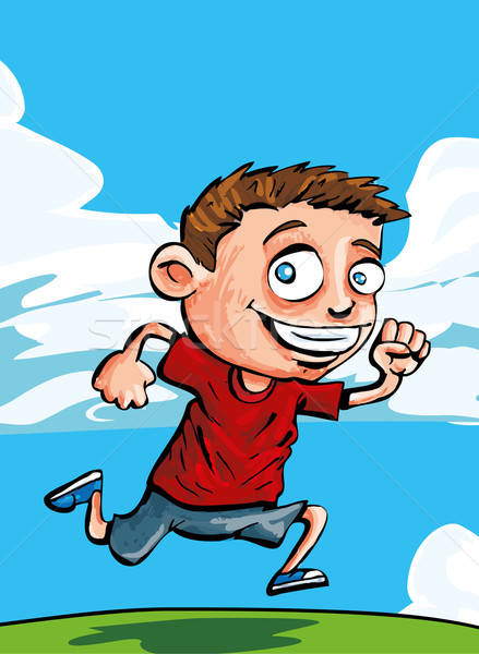 Karikatur läuft Junge blauer Himmel Wolken hinter Stock foto © antonbrand