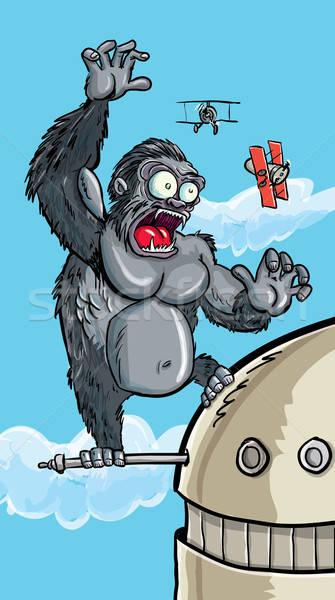 Cartoon King Kong on a building Stock photo © antonbrand