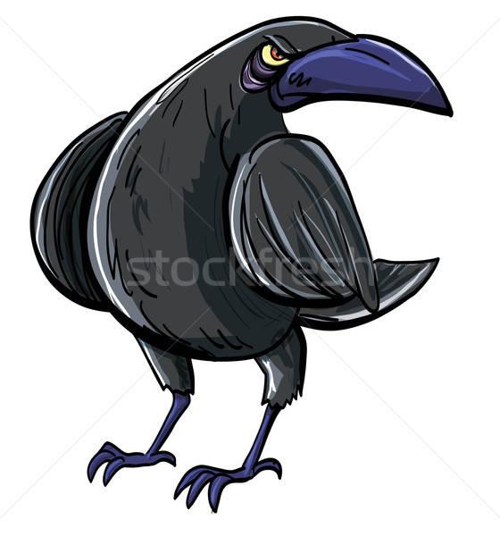 Cartoon зла черный ворон изолированный белый Сток-фото © antonbrand