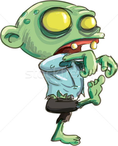 Cartoon illustration of cute green zombie Stock photo © antonbrand