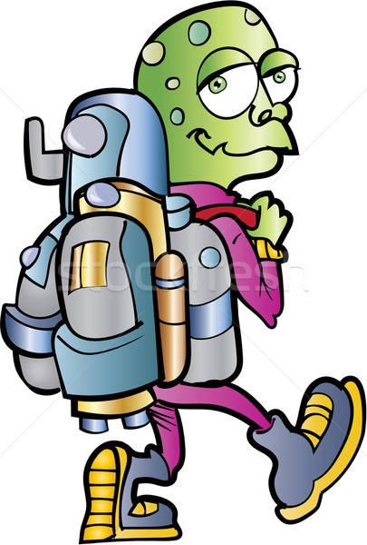 Desenho animado alienígena usuário isolado sorrir verde Foto stock © antonbrand