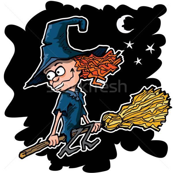 Cartoon witch miotła pływające noc dziewczyna Zdjęcia stock © antonbrand