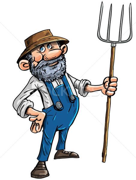 Cartoon farmer with a pitchfork Stock photo © antonbrand
