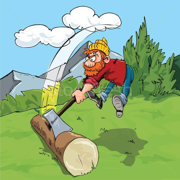 Cartoon lumberjack chopping a huge log Stock photo © antonbrand