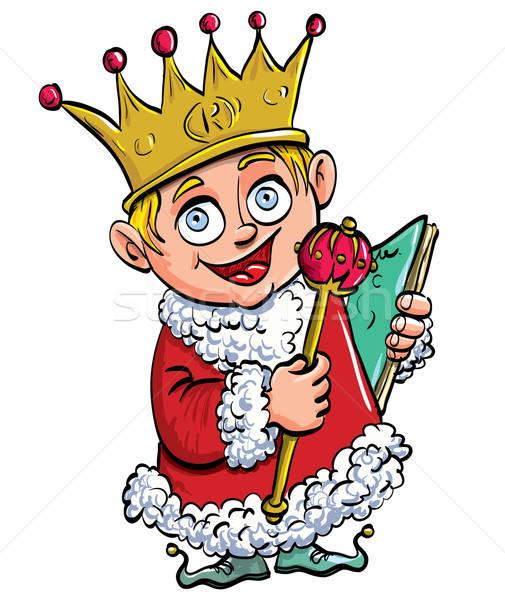Karikatur Junge König Krone isoliert Augen Stock foto © antonbrand