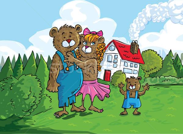 Karikatur drei Bären Haus Natur home Stock foto © antonbrand
