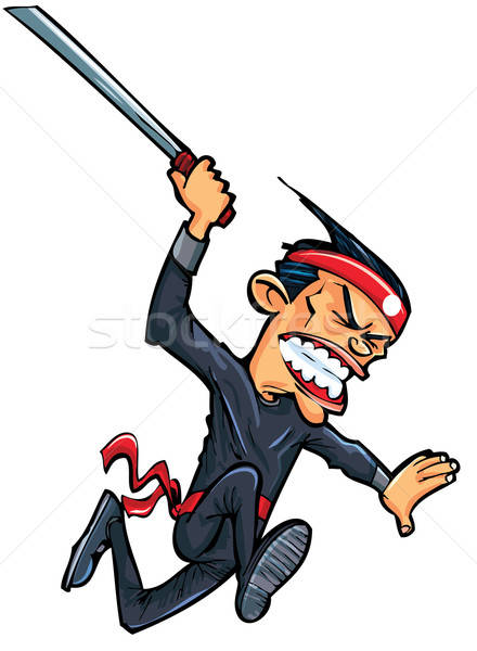Cartoon oriental man attacking with sword Stock photo © antonbrand