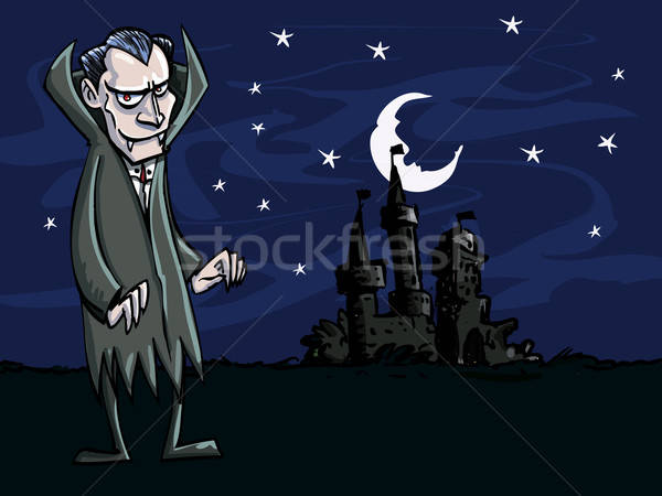 Cartoon of vampire in front of a creepry castle Stock photo © antonbrand