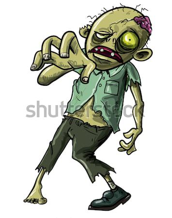 Cartoon zombie soldat fusil isolé blanche Photo stock © antonbrand