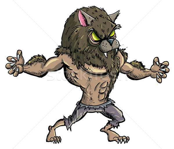 Cartoon werewolf with teeth and claws Stock photo © antonbrand