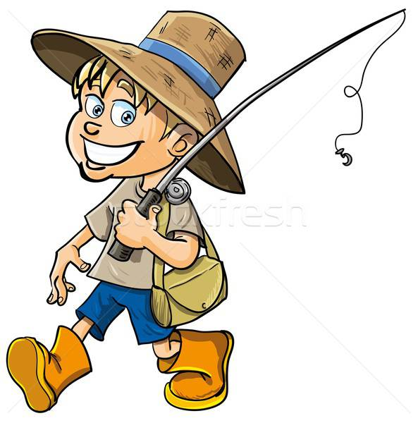 Cartoon fisherman with a fishing rod Stock photo © antonbrand
