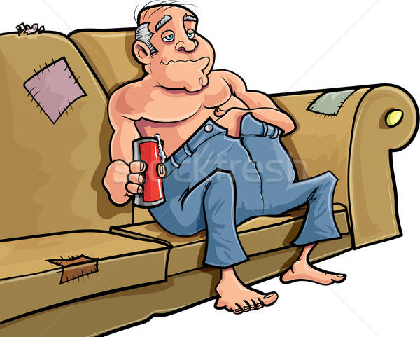 Cartoon man sitting on a couch with a beer Stock photo © antonbrand