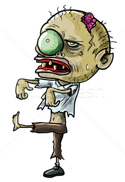 漫画 ゾンビ 眼 緑 ひびの入った 頭蓋骨 ストックフォト © antonbrand