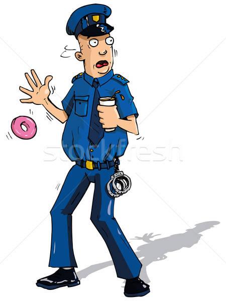Cartoon policeman surpised by something Stock photo © antonbrand